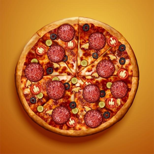 Vista superior de la pizza de pepperoni con deliciosos ingredientes sobre fondo amarillo cromado en ilustración 3d