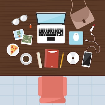 Vista superior plana de la computadora de la mesa del lugar de trabajo de office