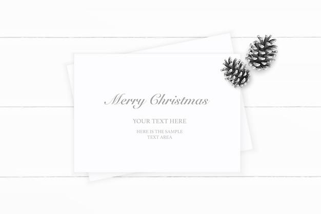 Vista superior plana endecha elegante cono de pino de papel de composición de navidad blanca sobre fondo de madera.