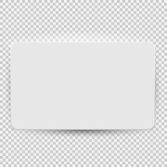 Vista superior de la plantilla modelo de tarjeta de regalo o crédito en blanco blanco con sombra aislada sobre fondo transparente. ilustración vectorial eps10