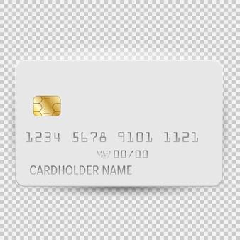 Vista superior de la plantilla de tarjeta bancaria en blanco blanco con sombra aislado sobre fondo transparente.