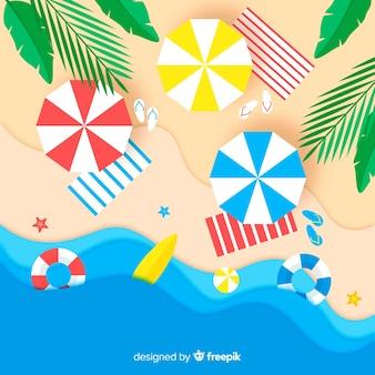 Vista superior playa colorida estilo papel