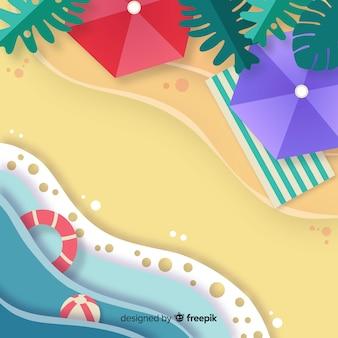 Vista superior de la playa estilo papel