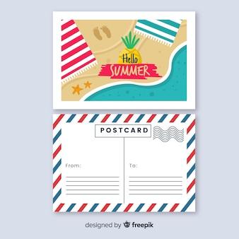 Vista superior postal de verano orilla dibujada a mano