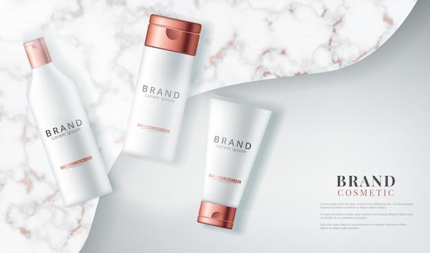 Vista superior de productos cosméticos con su textura en piedra de mármol.