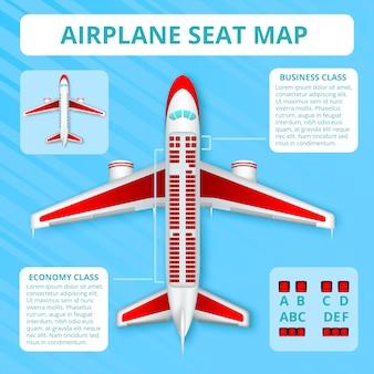 Vista superior realista del mapa del asiento del avión de pasajeros