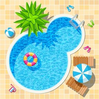 Vista superior relajarse piscina
