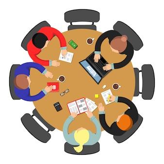 Vista superior de la reunión de oficina