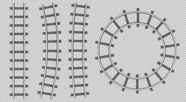 Vista superior de rieles de tren, recto, curva, trayectoria redonda