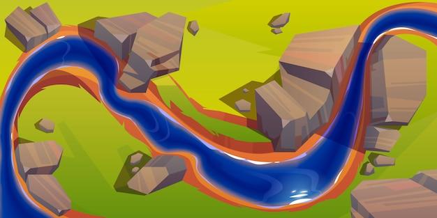 Vista superior del río, curva del lecho del río con agua azul