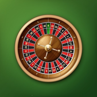 Vista superior de la rueda de la ruleta del casino realista del vector aislada en la mesa de póquer verde