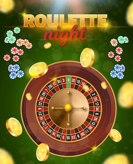 Vista superior de la ruleta y fichas de juego que caen, monedas