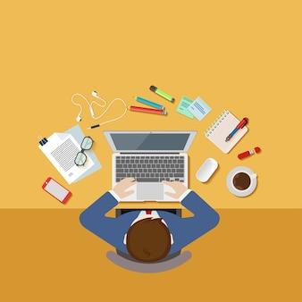 Vista superior sobre el concepto de lugar de trabajo de oficina 3desk de empresario plana 3d web