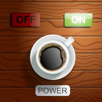 Vista superior taza de café con encendido y apagado