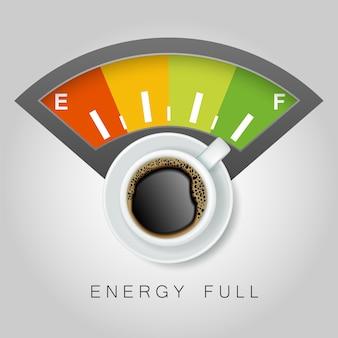 Vista superior taza de café y energía completa.