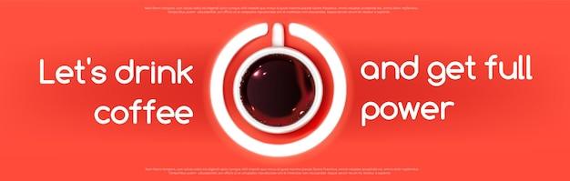 Vista superior de la taza de café espresso como signo de botón de encendido en rojo