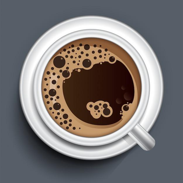 Vista superior de la taza de café