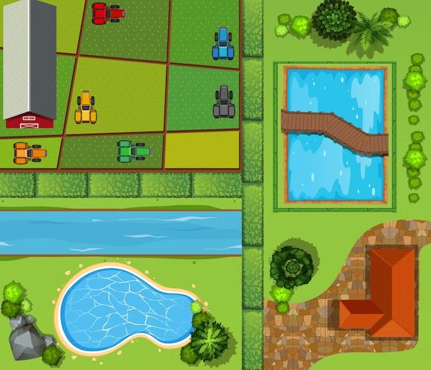 Vista superior de tierras de cultivo y casa privada