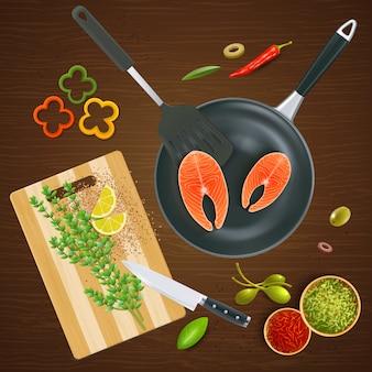 Vista superior de utensilios de cocina realistas con especias y verduras de salmón en la ilustración de textura de madera