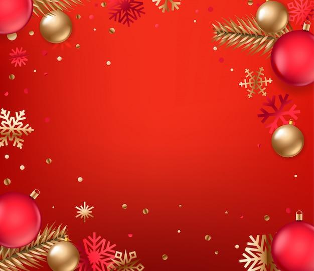 Vista superior vacaciones de invierno fondo rojo