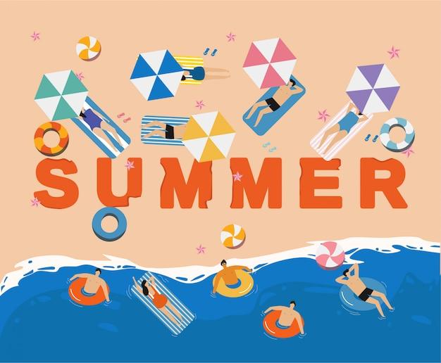 Vista superior de vacaciones de verano de personas. concepto vacaciones de verano