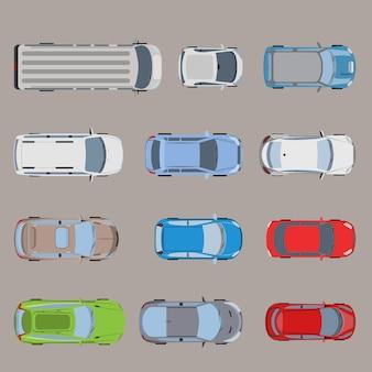 Vista superior vehículo de transporte por carretera automóvil van bus micro suv sedán vagón camión roadster conjunto de iconos de coche deportivo.