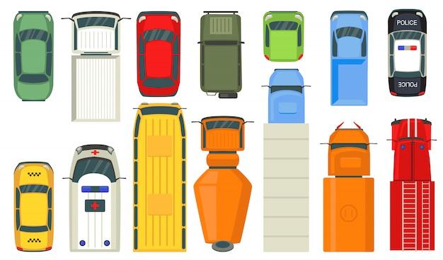 Vista superior de vehículos urbanos
