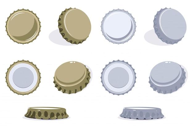 Vista de la tapa de la botella desde la parte superior, lateral e inferior. conjunto de vectores de iconos de tapa de cerveza o refresco aislado.
