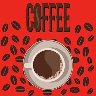 Vista de taza de café desde arriba con fondo de granos de café