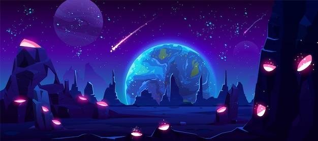 Vista de la tierra por la noche desde el planeta alienígena, espacio de neón