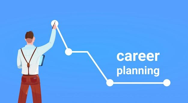 Vista trasera del empresario punto de crecimiento superior gráfico flecha concepto de éxito de planificación de carrera sobre fondo azul plano horizontal