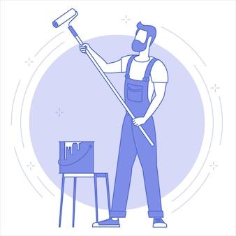 Vista trasera del hombre pintor pintando gran espacio de copia en blanco el azul en la pared en blanco, con rodillo de pintura.