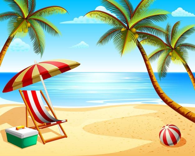 Vista de vacaciones de playa en verano con silla de playa y algunos cocoteros.