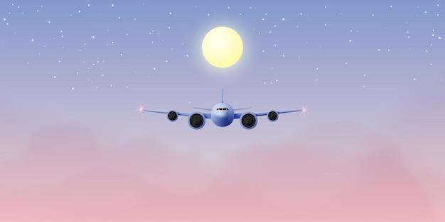 Vista de la ventana del avión con hermoso cielo nocturno y estrellas ilustración de fondo