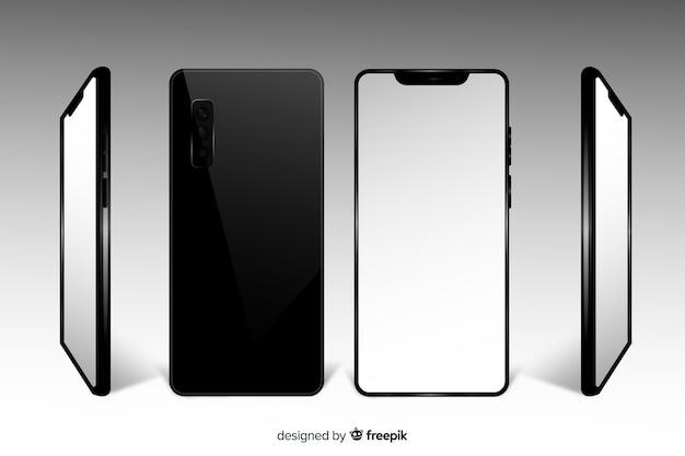 Vistas diferentes de teléfonos inteligentes realistas