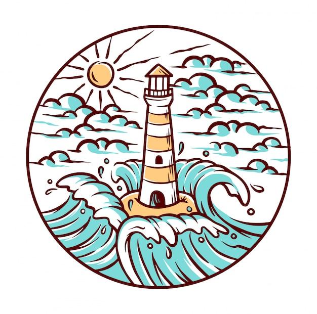 Vistas del faro y la ilustración de las olas