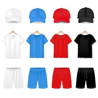 Vistas frontales de camiseta y gorra de béisbol y pantalones cortos en blanco