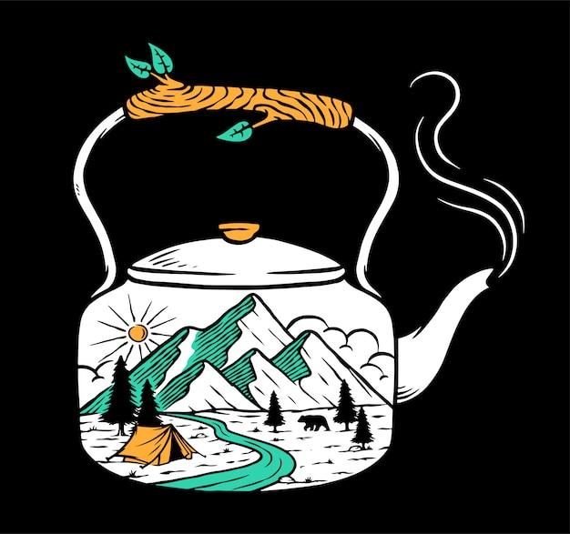 Vistas de la montaña y la vieja ilustración hervidor de agua