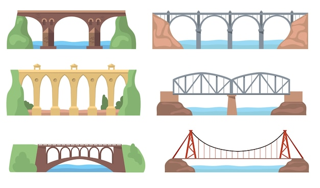 Vistas panorámicas con puentes establecidos. construcciones de arcos, acueductos, ríos, acantilados, paisajes aislados. ilustraciones vectoriales planas para arquitectura, hito, concepto de transporte
