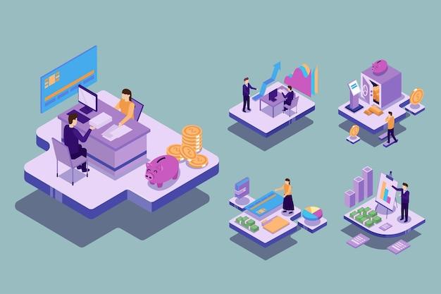 Visual con un joven empresario y una mujer que tienen un plan de reunión para trabajar y crear un objetivo financiero. concepto de trabajo de tecnología, ilustración isométrica