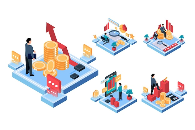 Visual con el joven empresario tiene un plan de reunión para trabajar y crear un objetivo financiero. concepto de trabajo de tecnología, ilustración isométrica