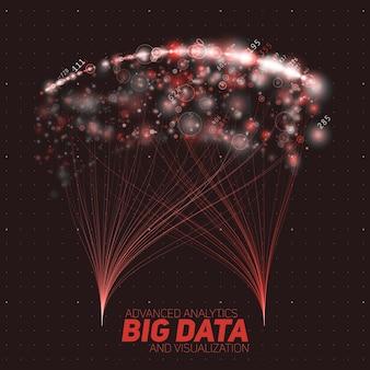 Visualización abstracta de big data. rayos rojos brillantes abstractos.
