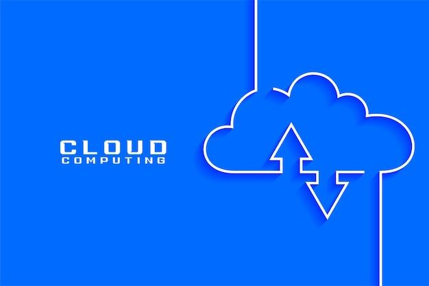 Visualización del concepto de computación en la nube en estilo de línea
