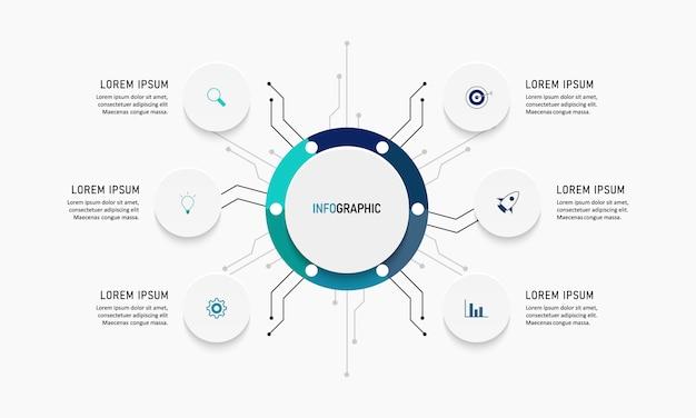 Visualización de datos comerciales. diagrama del proceso. elementos abstractos de gráfico, diagrama con pasos, opciones, partes o procesos. plantilla de negocio. concepto creativo para infografía.