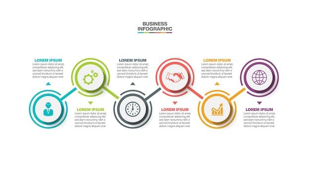Visualización de datos comerciales. infografía de línea de tiempo