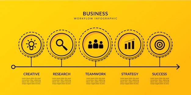 Visualización de datos comerciales con múltiples opciones, plantilla de flujo de trabajo de infografía de esquema de línea de tiempo