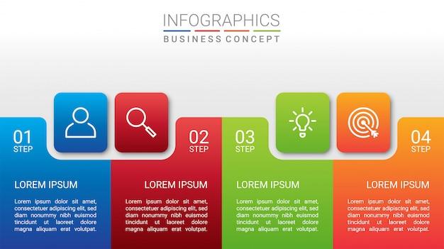Visualización de datos comerciales, plantilla de infografía con 4 pasos sobre fondo gris, ilustración
