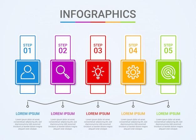 Visualización de datos comerciales, plantilla de infografía con 5 pasos en azul