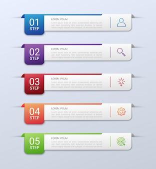 Visualización de datos comerciales, plantilla de infografía con 5 pasos sobre fondo gris, ilustración