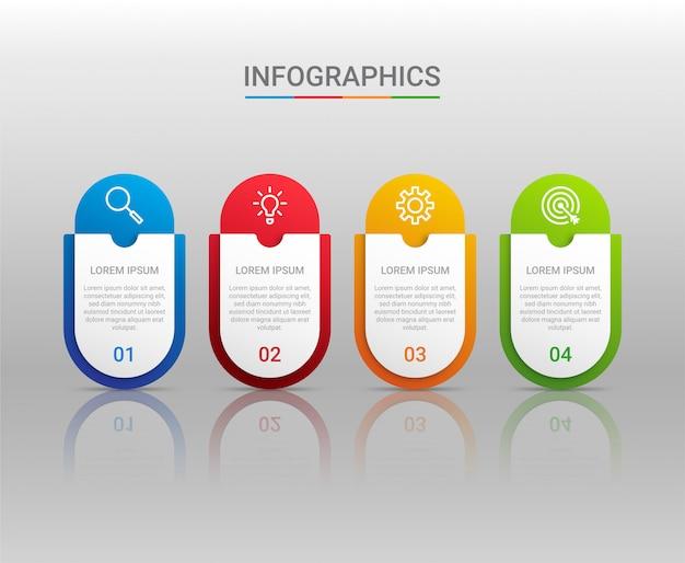 Visualización de datos comerciales, plantilla de infografía con pasos sobre fondo gris, ilustración